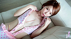 Japanese Teen Ryouko Lying On Couch Wearing Sleepwear Small Breasts