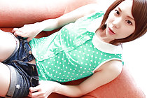 Ryouko strips green polka dot top and denim shorts