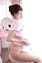 Seated on stool showing her panties