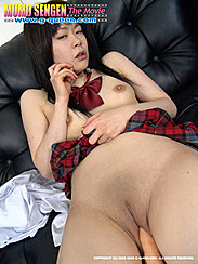 Arm Across Her Small Tit Plaid Skirt Raised Up Looking Down To Her Bald Pussy Toy Inserted In Smooth Shaved Pussy