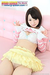 Lying Back On Couch Short Hair Raising Top Over Her Bra Frilly Yellow Skirt Raised Over Her Shaved Pussy Cleft