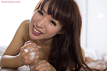 Shaved Itou Mayu strips bra and panties and gives handjob
