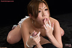 Hand Raised To Her Lips Cum Covered Hand Grasping His Spent Cock Momoka Mirei Licking Cum From Her Fingers
