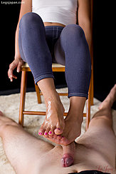 Thick Cum Over Her Raised Bare Foot