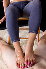 Both Bare Feet Together On His Spent Cock