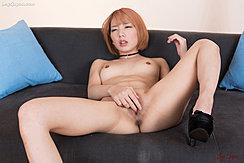 Fingering Pussy On Sofa Knee Raised In High Heels