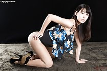 Shinosaki Kotomi strips panties in short skirt and high heels