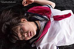 Kogal Araki Mai Lying Exhausted In Uniform Her Face Covered In Cum