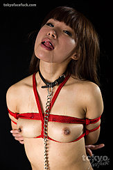 Head Tilted Back Long Hair Down Her Back Shibari Rope Small Tits