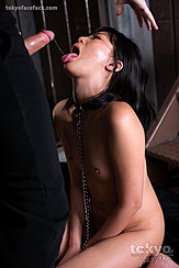 Kneeling Naked Arms Between Her Thighs Head Thrown Back Tone Extended Saliva Trailing From Head Of Hard Cock Small Breasts