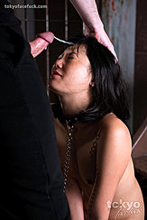 Kneeling With Eyes Closed Hard Cock Cumming Over Her Forehead