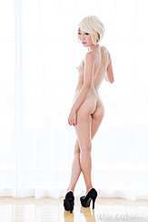 Standing In Front Of Curtained Window Nice Ass Legs Crossed High Heels