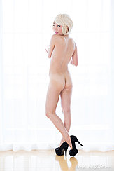 Hirasawa Eri Looking Over Her Shoulder Naked Bare Ass Ankles Crossed Wearing High Heels