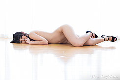 Lying On Floor Naked Wearing Black High Heels